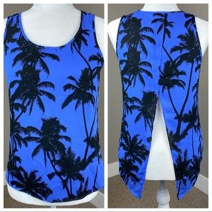 EXPRESS PALM TREE PURPLE OPEN BACK FLOW TANK